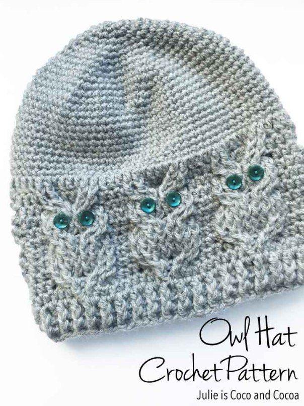 Owl Hat Crochet Pattern | Häkeln Auto, Mütze und Handarbeiten