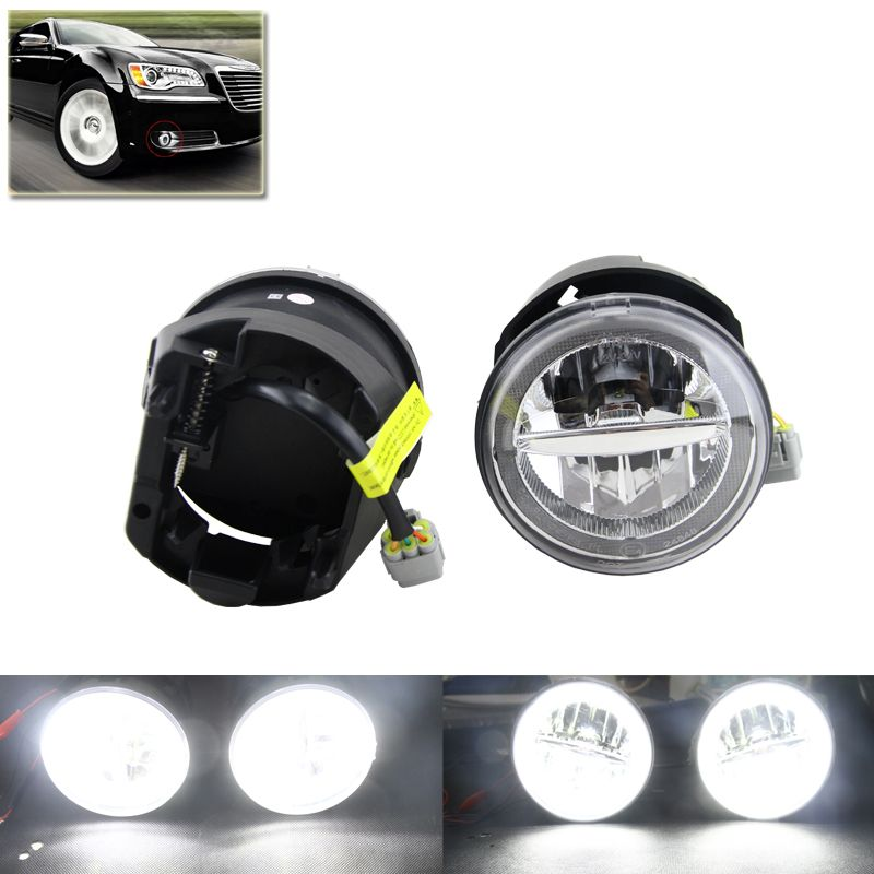 2-In-1 Auto Car Led Front Fog Lights Assembly W/ White DRL Daytime ...
