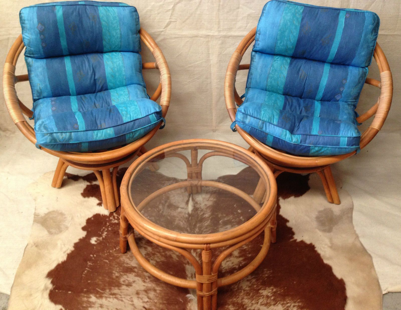 Vintage Pair BAMBOO CANE Egg TUB SWIVEL CHAIRs W CUSHIONS U0026 Glass COFFEE  TABLE