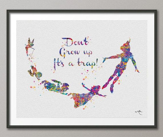 Never Grow Up Quote Art Peter Pan Watercolor Painting Print Wedding Gift Nursery