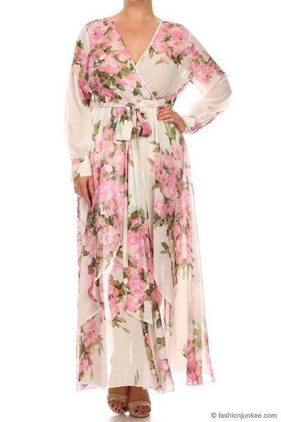 53e4c73152 PLUS SIZE Send My Love Floral Chiffon Maxi Dress-Off White & Pink -
