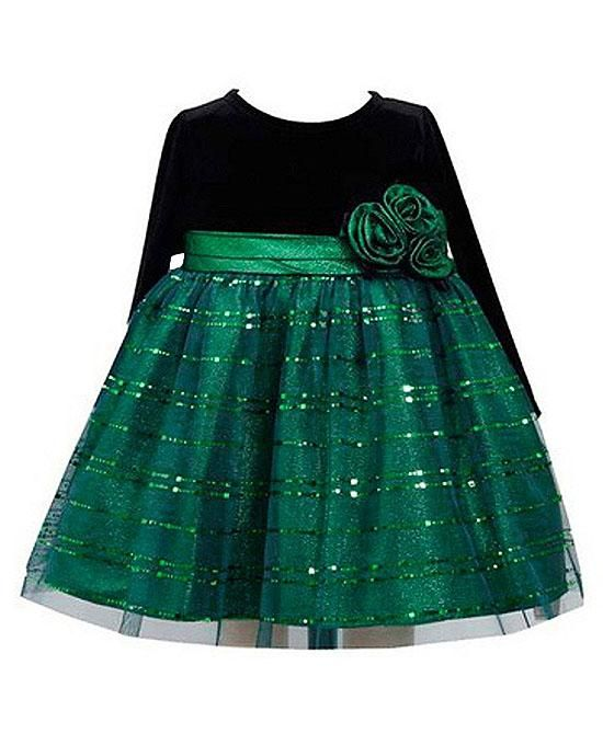 Black Velvet And Emerald Green Mesh Skirt With Rows Of