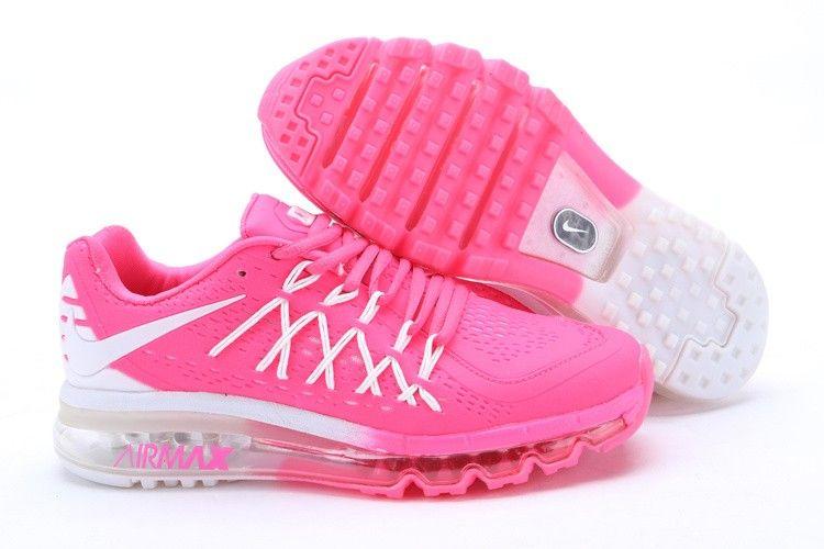 Women's 2015 Nike Air Max Peachblow White Running Sneakers