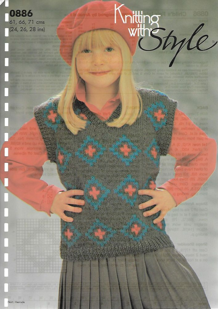 Child's Fairisle Vest KWS 886 knitting pattern DK yarn | Knitting ...
