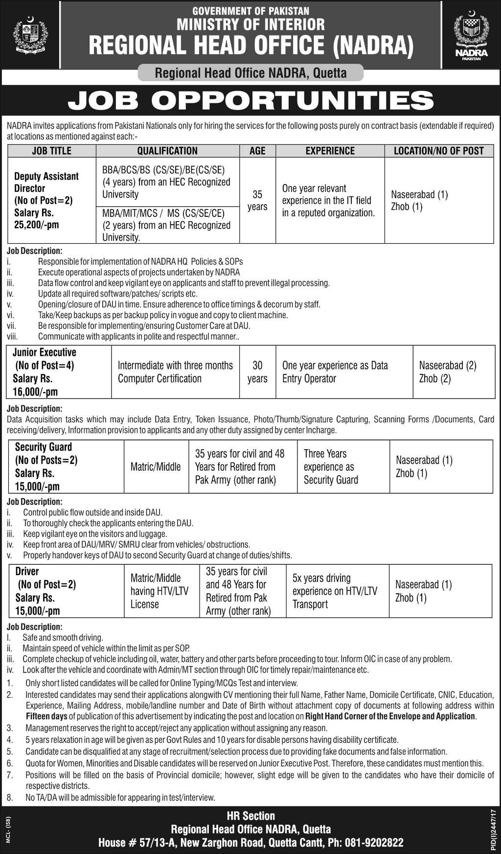 Regional Head Office Nadra Jobs  In Quetta For Directors And