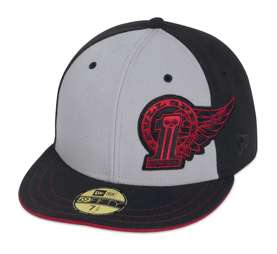 Harley Davidson Fitted Hats: Men's Black Label #1 Winged 59FIFTY® Baseball Cap