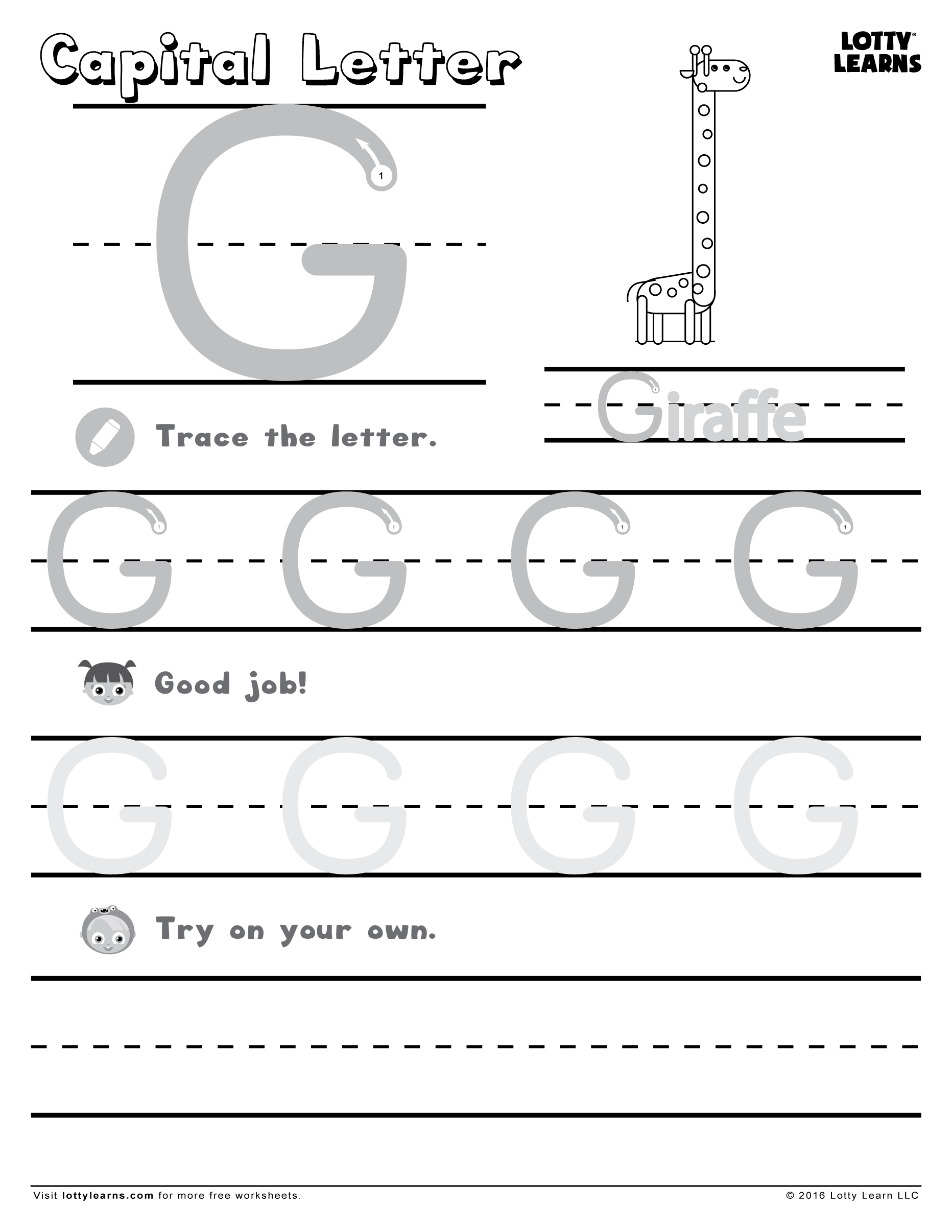 Worksheets Letter G Worksheets capital letter g lotty learns abc printables uppercase learns
