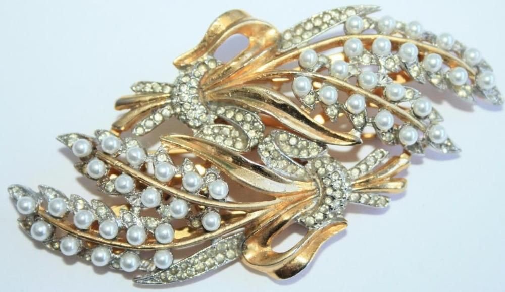 Vintage Rare 1940 Signed Coro Duette Wheat A.Katz RS & Pearls Clips/Brooch Combo