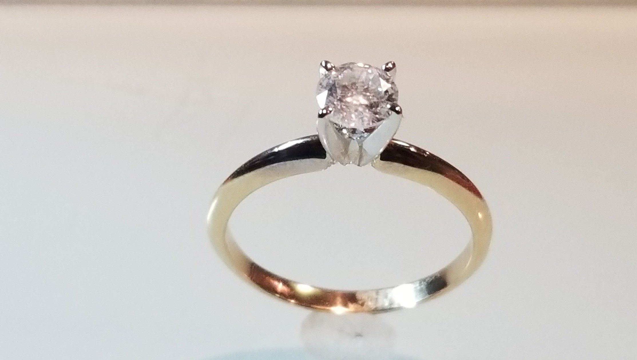 14kt Two Tone Gold 0.50ctw Solitaire Promise Ring