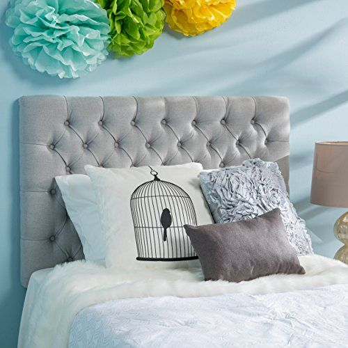 Jezebel Twin On Tufted Fabric Kid Headboard By Christopher Knight Home Light Grey