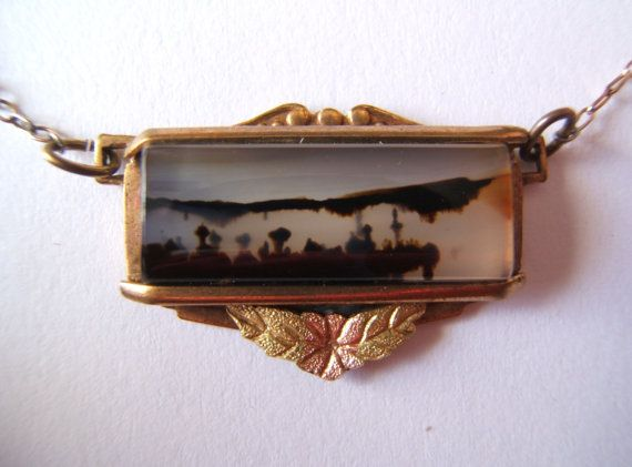 Picture Montana agate trees rose and green 14 k by vintagefalcon, $85.00