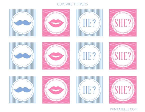 image relating to Gender Reveal Printable referred to as Gender describe cupcake topper, free of charge printable Enjoy a very good