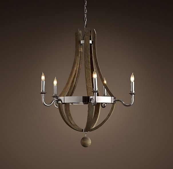 Rh wine barrel chandelier handcrafted from reclaimed french oak rh wine barrel chandelier handcrafted from reclaimed french oak wine barrel staves and hoops aloadofball Choice Image