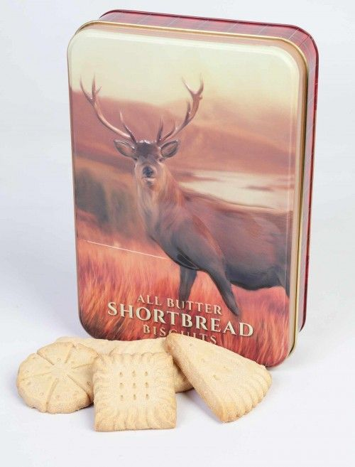 Shortbread Biscuits Embossed Stag Tin Available In Edinburgh Woollen Mill In Our Mall Scottish Gifts Stylish Knitwear Woolen