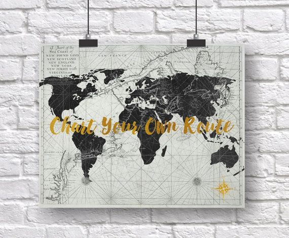 Map of the world art wanderlust matte faux gold foil nautical map of the world art wanderlust matte faux gold foil nautical chart black and gold traveler gift world map poster living room art shopswell gumiabroncs Image collections
