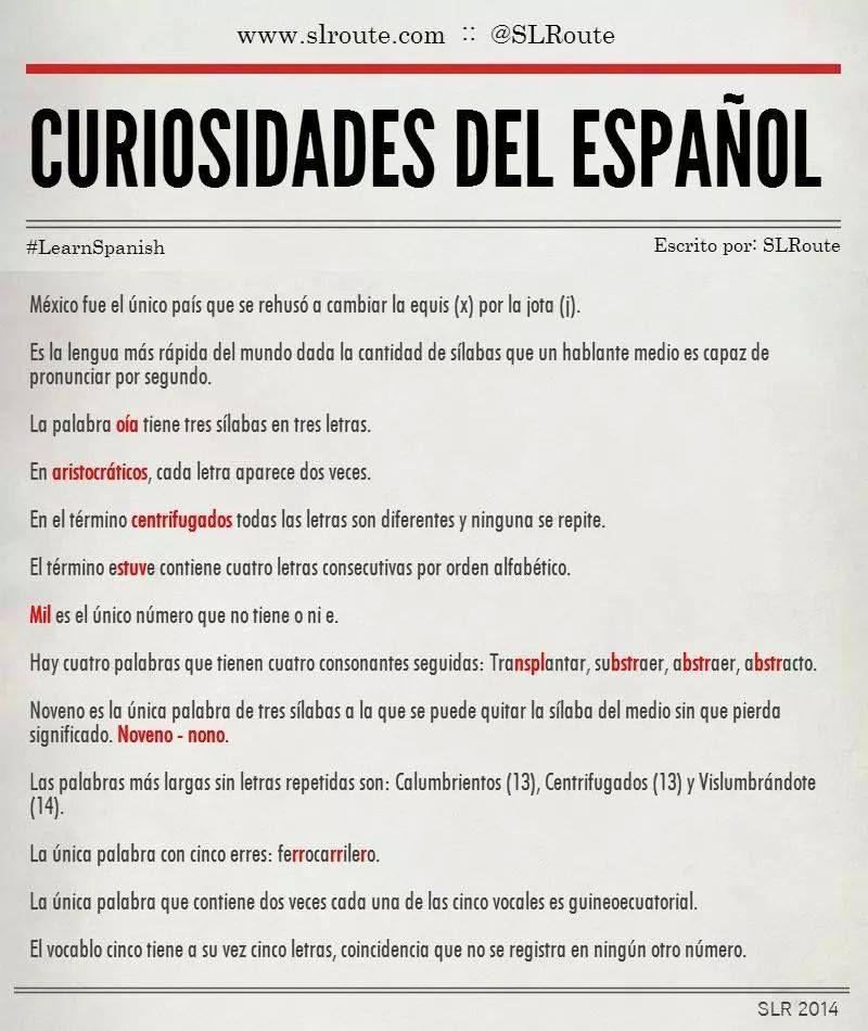 Curiosidades del español.