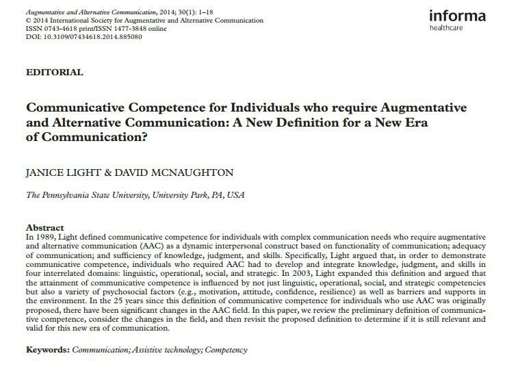 Communicative Competence for Individuals who require