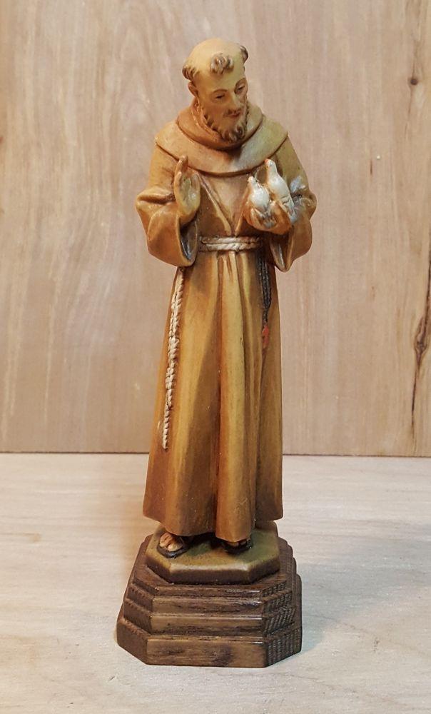 Vintage Anri Italy Hand Carved Wood Saint Francis W Birds 7