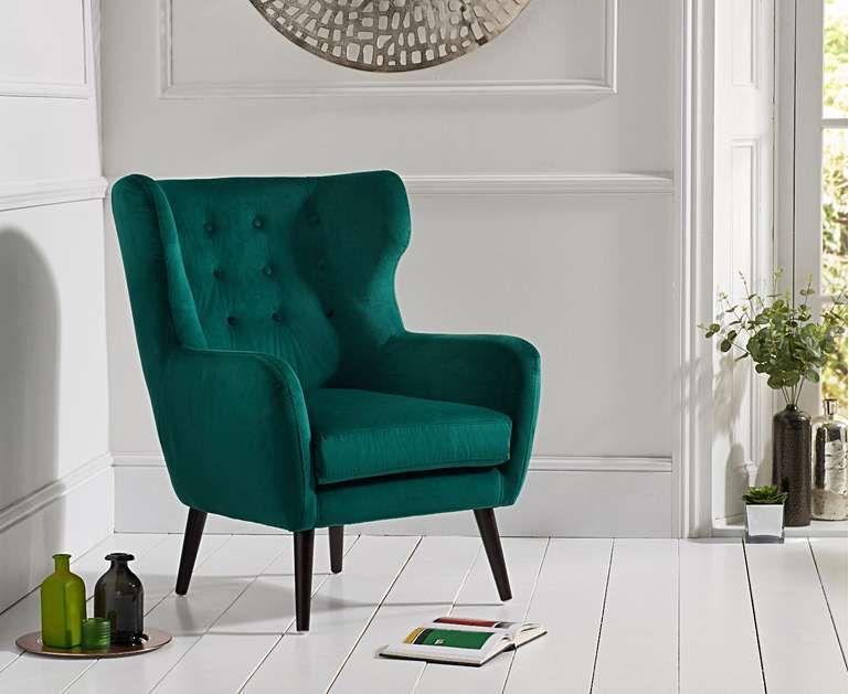 Alaska Green Velvet Accent Chair Black Upholstered Chair Velvet