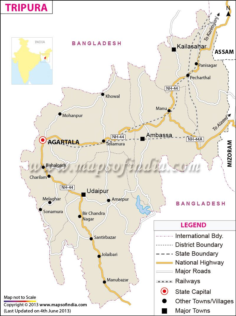Map of Tripura in 2019 Map, India map, State map