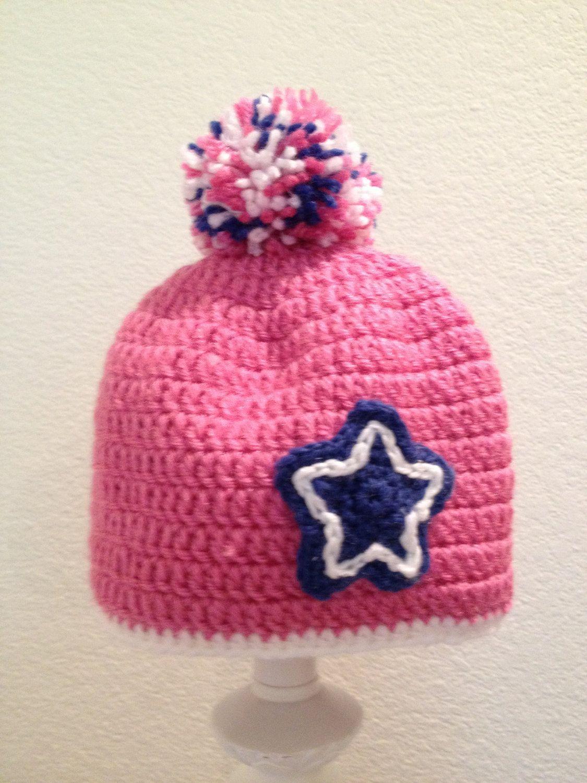 Cute Star Pink Girls Hat   Girl with hat, Handmade yarn ...