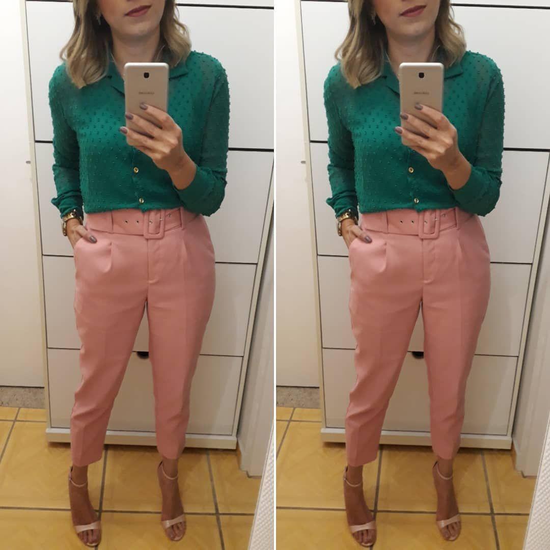 452fabc52 calça clochard verde + blusa rosé | looks in 2019 | Calca clochard ...