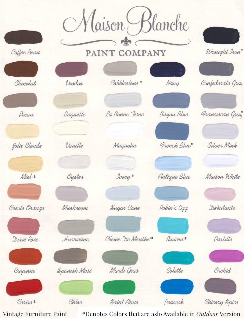 42 Shade Color Chart Maison Blanche Vintage Furniture Paint - I think I'm  in love! - MaisonBlancheVintageandOutdoorPaintColorChart Furniture DIY