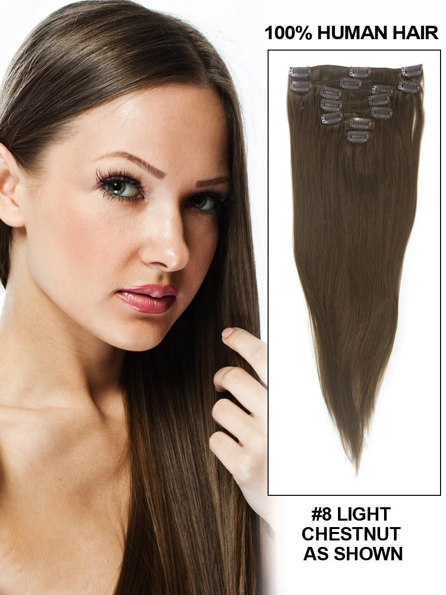 16 Inch 8pcs Straight Brazilian Clip In Remy Hair Extensions (#8 Light Chestnut) 100g
