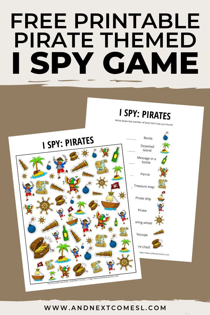 Pirates I Spy Game {Free Printable for Kids} I spy games