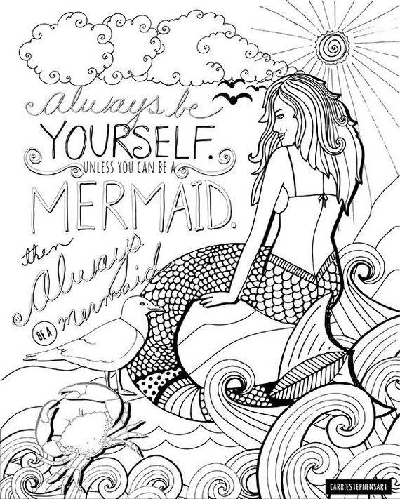 Mermaid Printable Coloring Page for Adults PDF Printable