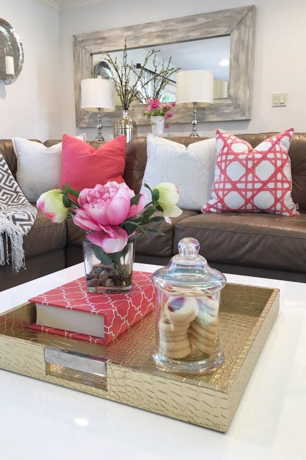 Easy Living Room Restyle Add a few new colorful pillows to your - Brown Couch Living Room