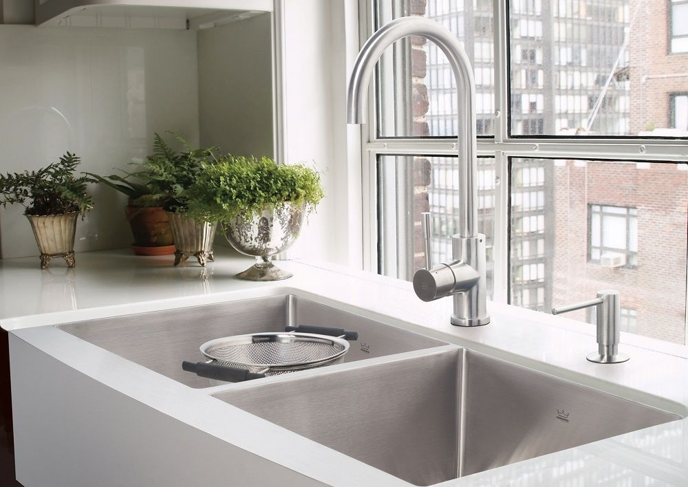 Stainless steel farmhouse style kitchen sinks from kindred this kindred qsfs31b 20 gauge apron frontfarmhouse stainless steel kitchen sink workwithnaturefo