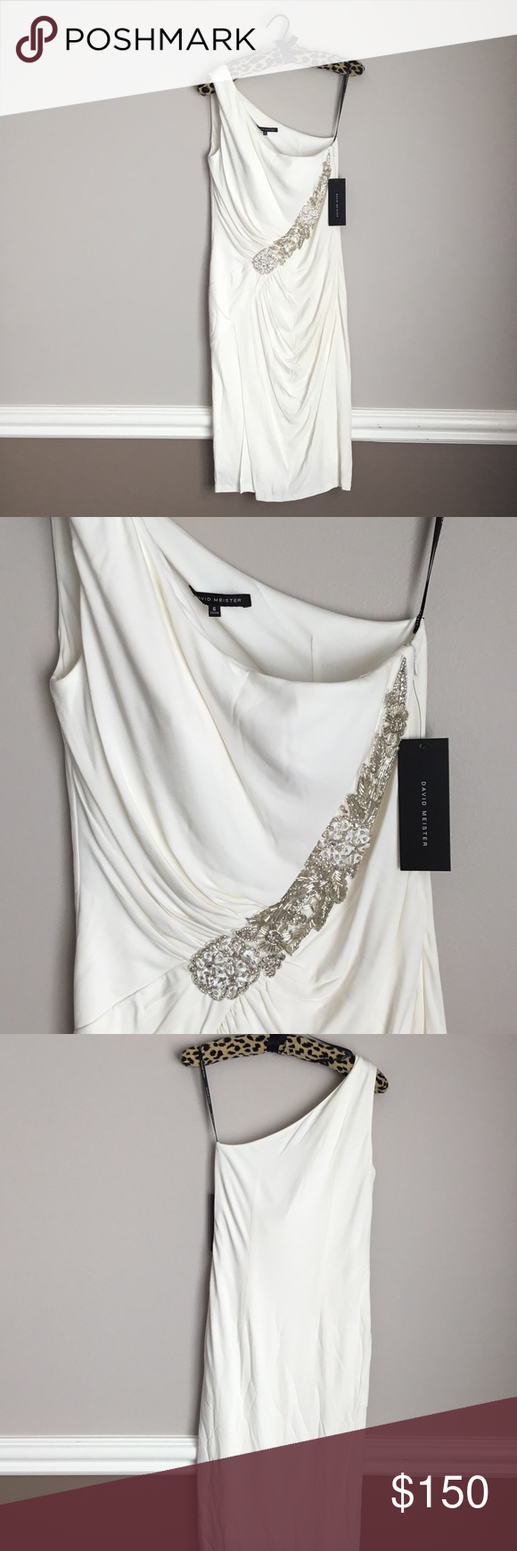 Neimans David Meister one shoulder Grecian gown NWT | Pinterest