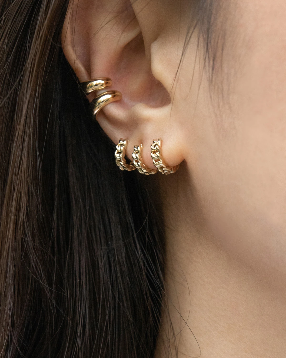White Zircon Bar and Sea Shell Chain Double Ear Studs Earring