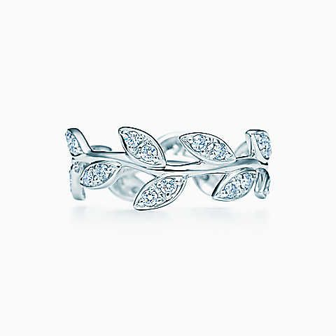 Paloma Picasso® Olive Leaf narrow band ring in 18k white gold with diamonds.