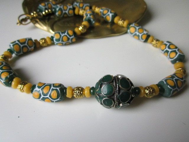 Afghani/Krobo Fusion Necklace by Anne-Marie Raymond of France's Loire Valley