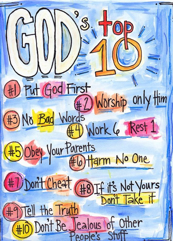 Bible Verse God's Top Ten Commandments for Kids and all Protestant
