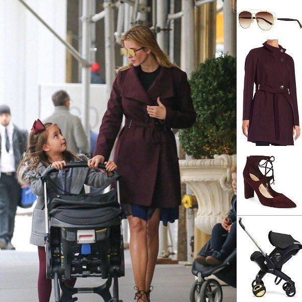 Ivanka wore Dior sunglasses and an Ivanka Trump coat and shoes she has a  Doona stroller
