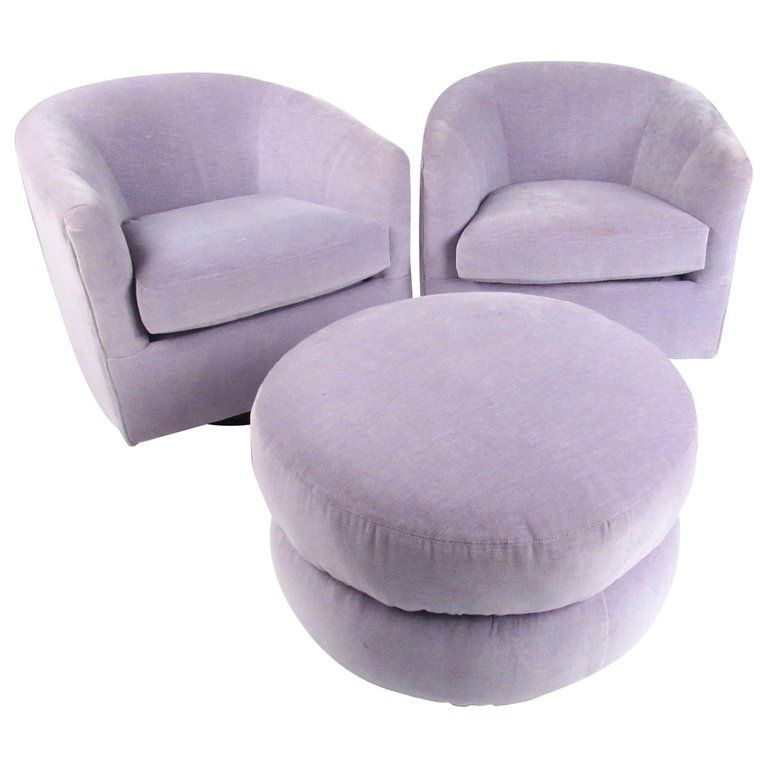 Wondrous Pair Of Vintage Swivel Club Chairs With Ottoman In 2019 Squirreltailoven Fun Painted Chair Ideas Images Squirreltailovenorg