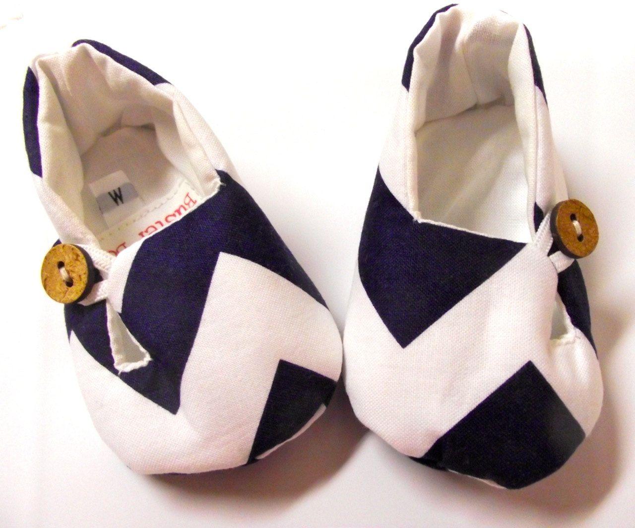 Navy Blue Chevron Fabric Baby Shoes. Fabric Booties. Vegan ...
