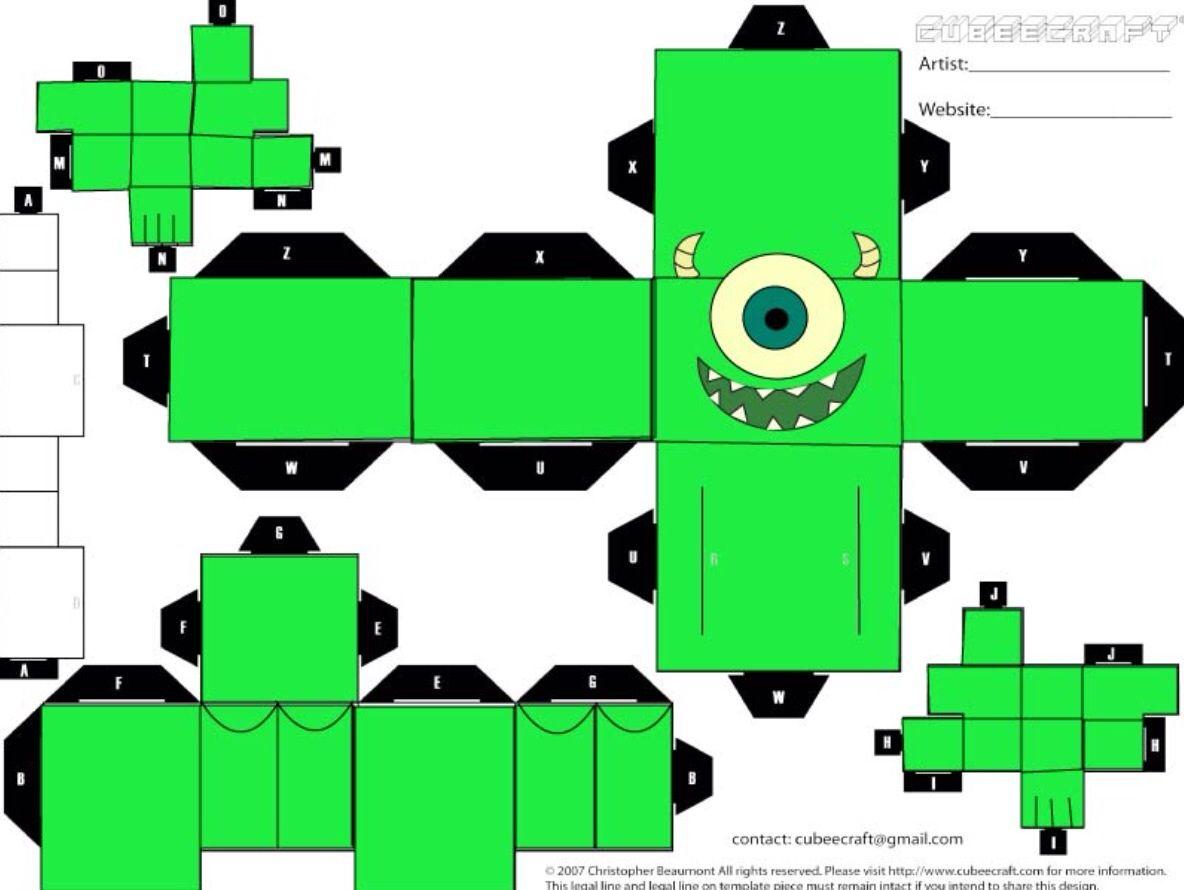 Monsters INC Mickey papercraft template | Papercrafts | Pinterest ...