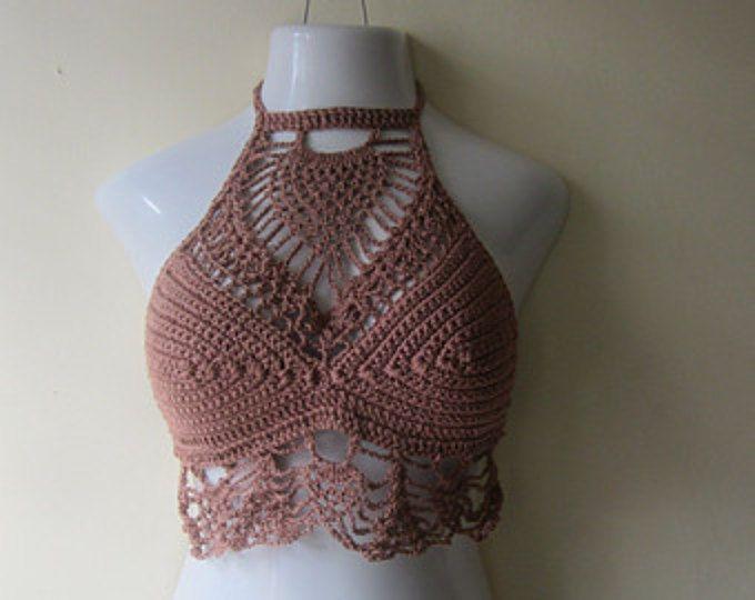 beach cover up gypsy top, Festival clothing WHITE CROCHET crop TOP high neck halter top crochet halter top bohochic