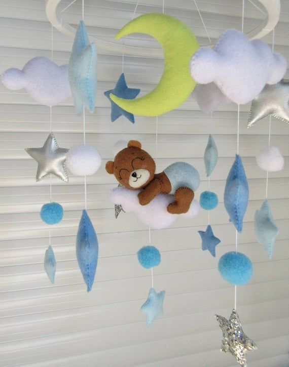 Items similar to Baby bear crib mobile for boy. Brown bear on the cloud with blue and silver stars moon. Hanging toy for nursery decor. Felt cot mobile on Etsy