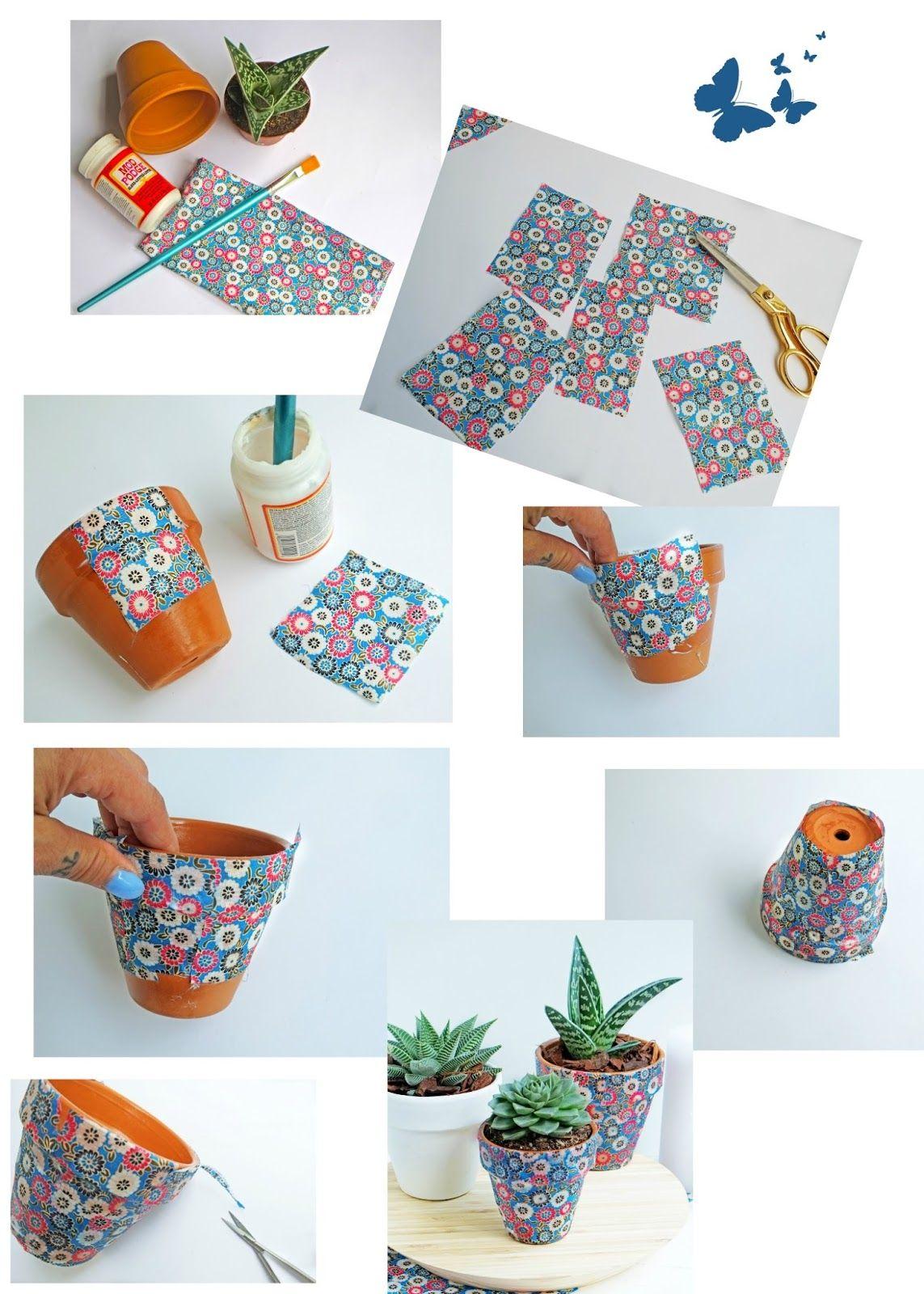 Vrolijke bloempotten met stof diy decoratie mod podge soms heb je restjes katoen waarvan je - Versieren van een smalle gang ...