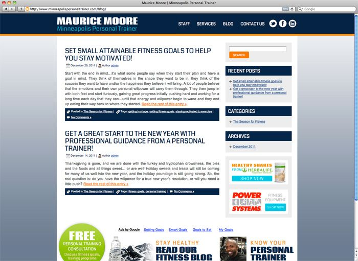 Maurice Moore Personal Trainer Cms Website Custom Management Systems Media Junction Custom Website Website Design Custom Website Design