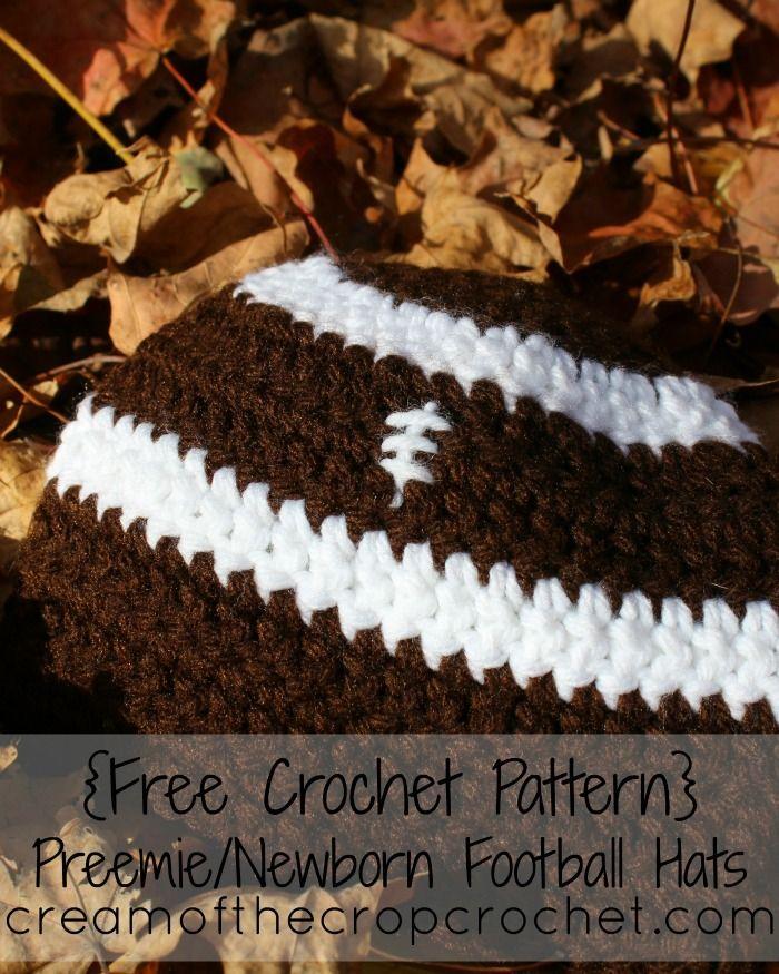 Cream Of The Crop Crochet ~ Preemie/Newborn Football Hats {Free Crochet Pattern}