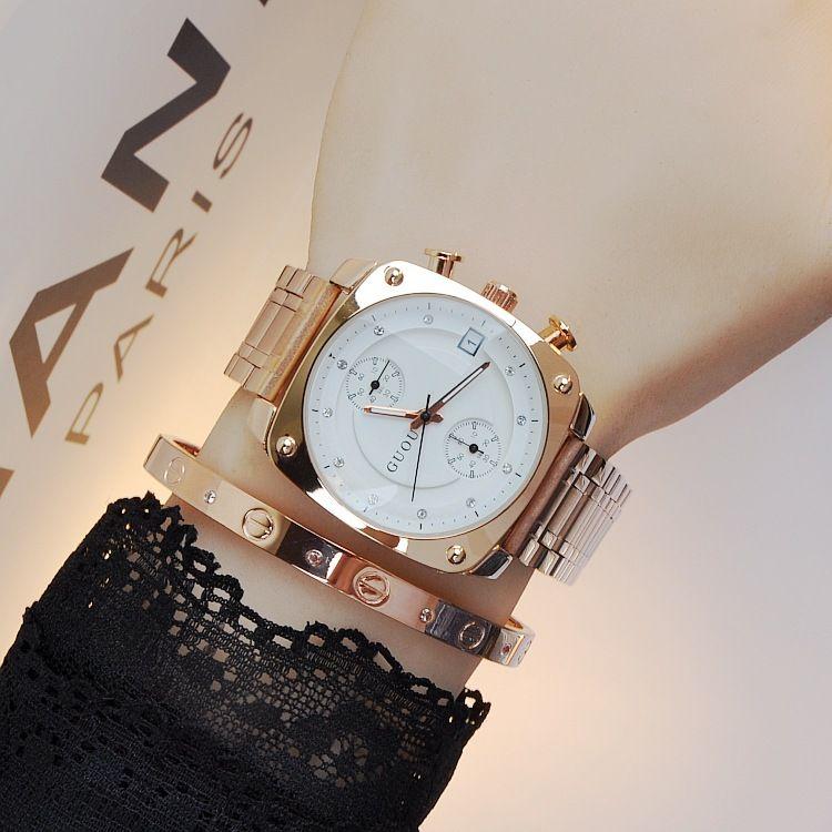 $47.99 (Buy here: https://alitems.com/g/1e8d114494ebda23ff8b16525dc3e8/?i=5&ulp=https%3A%2F%2Fwww.aliexpress.com%2Fitem%2FTOP-Quality-Authentic-Fashion-HK-Brand-GUOU-Watch-Women-Waterproof-Alloy-Square-Quartz-Women-Wristwatches-Free%2F32703251556.html ) 2016 Style Fashion Brand Clock Ladies Full Luxury Gold Steel Strap Square Dial Quartz Woman Calendar Dress Watches Relojes mujer for just $47.99