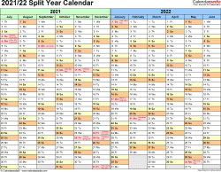 Und Academic Calendar 2022.Split Year Calendar Templates For 2021 2022 In Microsoft Word Format Excel Calendar Template Calendar Excel Calendar