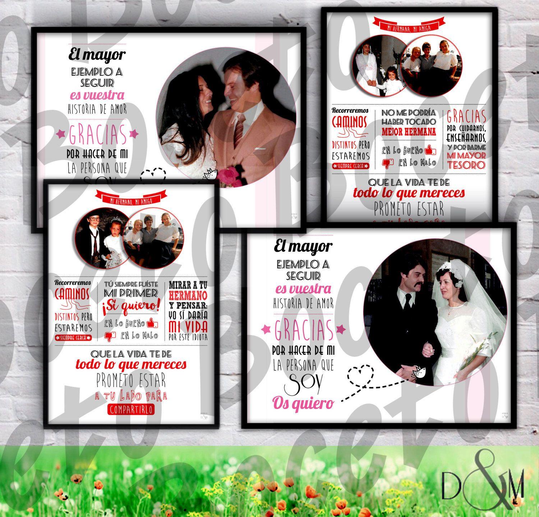 4 láminas personalizadas de boda para padres y hermanos (marco ...
