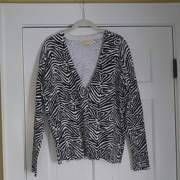 Michael Kors zebra cardigan Large EUC maybe even NWOT.  Vneck cardigan with silver buttons.  75% cotton/25% nylon. MICHAEL Michael Kors Sweaters Cardigans